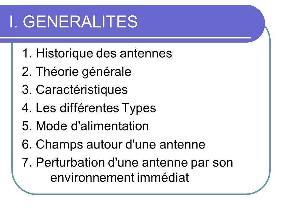 I. GENERALITES 1. Historique des antennes 2. Théorie générale 3. Caractéristiques 4. Les différentes Types 5. Mode d'alimentation 6. Champs autour d'u
