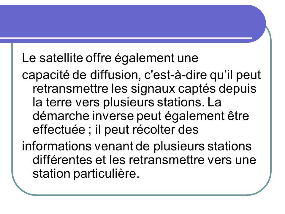 Le satellite offre également une capacité de diffusion, c'est-à-dire quil peut retransmettre les signaux captés depuis la terre vers plusieurs station