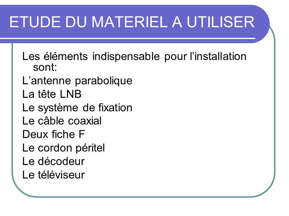 Les éléments indispensable pour linstallation sont: Lantenne parabolique La tête LNB Le système de fixation Le câble coaxial Deux fiche F Le cordon pé