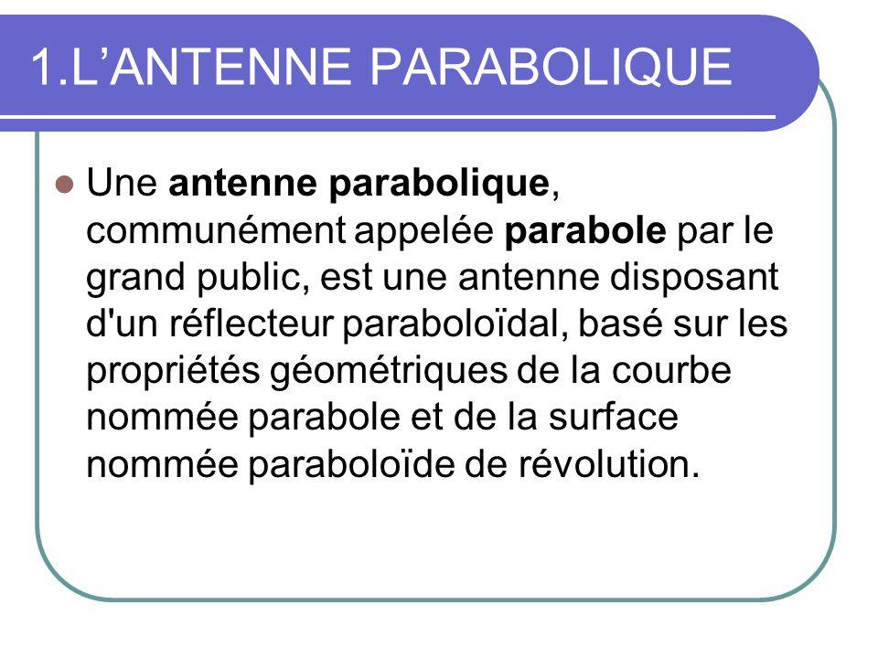 1.LANTENNE PARABOLIQUE Une antenne parabolique, communément appelée parabole par le grand public, est une antenne disposant d'un réflecteur paraboloïd