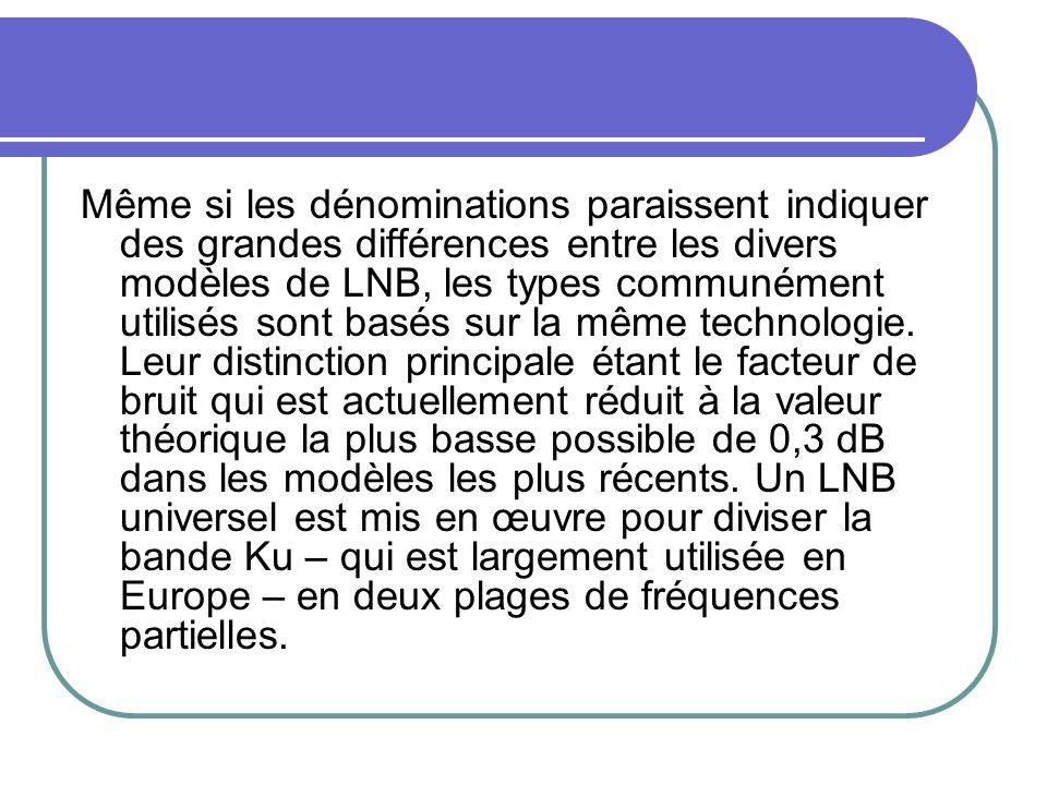 Même si les dénominations paraissent indiquer des grandes différences entre les divers modèles de LNB, les types communément utilisés sont basés sur l