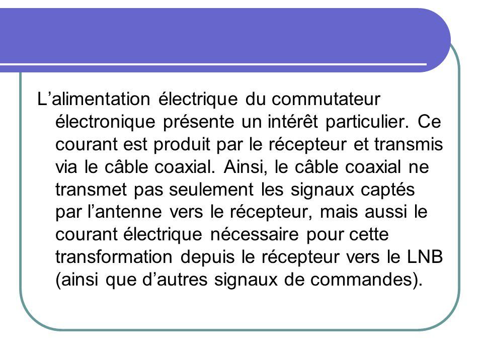 Lalimentation électrique du commutateur électronique présente un intérêt particulier. Ce courant est produit par le récepteur et transmis via le câble