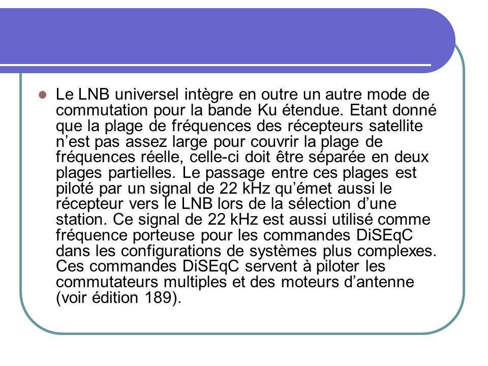 Le LNB universel intègre en outre un autre mode de commutation pour la bande Ku étendue. Etant donné que la plage de fréquences des récepteurs satelli