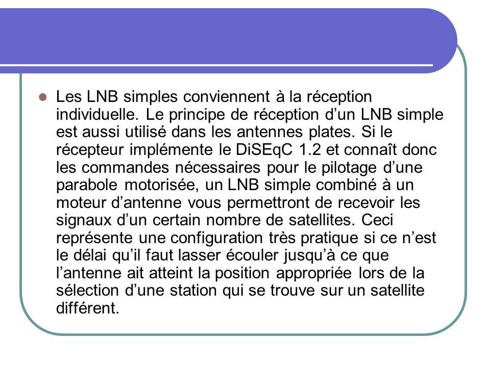 Les LNB simples conviennent à la réception individuelle. Le principe de réception dun LNB simple est aussi utilisé dans les antennes plates. Si le réc