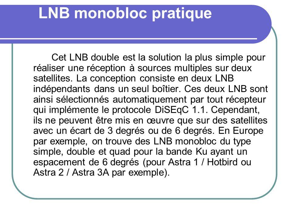 LNB monobloc pratique Cet LNB double est la solution la plus simple pour réaliser une réception à sources multiples sur deux satellites. La conception