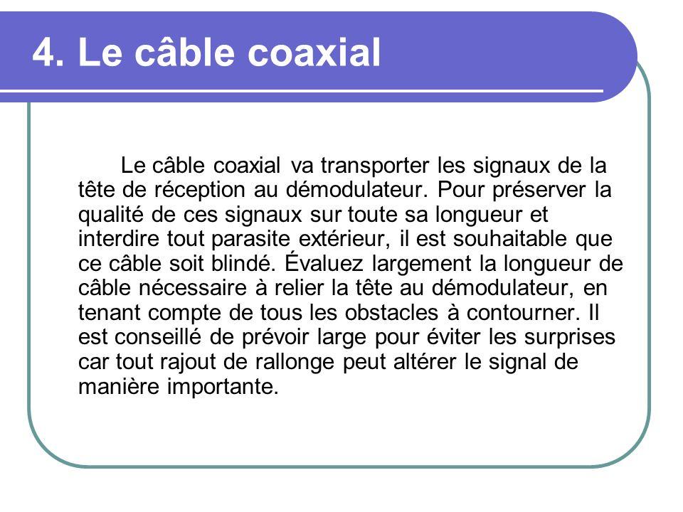 4. Le câble coaxial Le câble coaxial va transporter les signaux de la tête de réception au démodulateur. Pour préserver la qualité de ces signaux sur