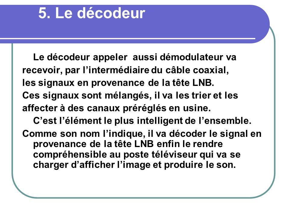 5. Le décodeur Le décodeur appeler aussi démodulateur va recevoir, par lintermédiaire du câble coaxial, les signaux en provenance de la tête LNB. Ces