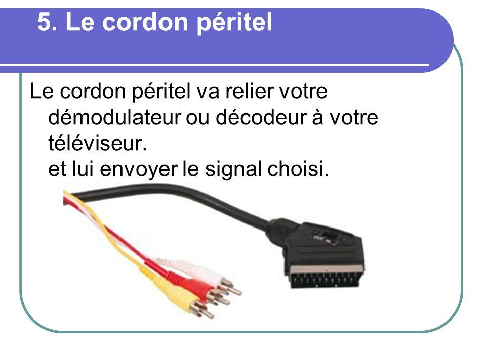 5. Le cordon péritel Le cordon péritel va relier votre démodulateur ou décodeur à votre téléviseur. et lui envoyer le signal choisi.