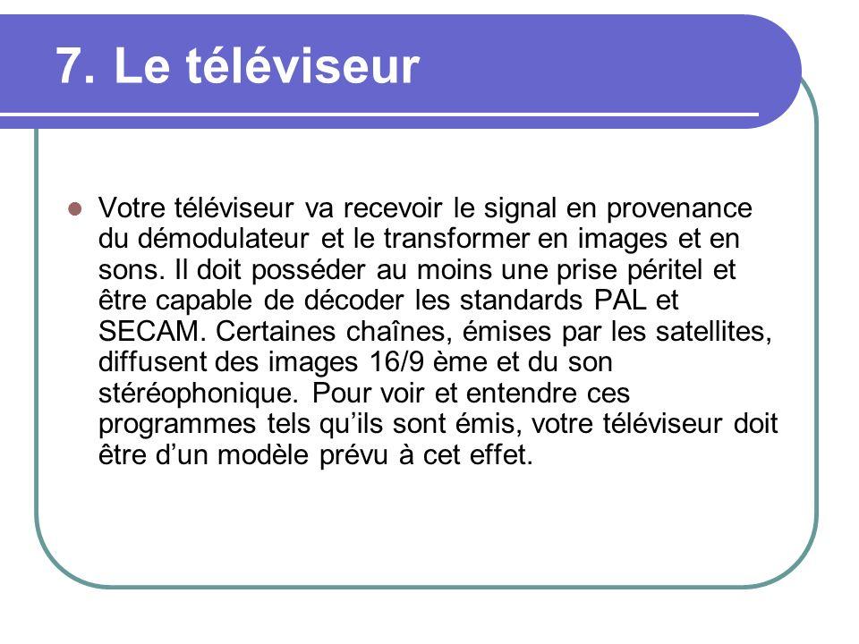 7. Le téléviseur Votre téléviseur va recevoir le signal en provenance du démodulateur et le transformer en images et en sons. Il doit posséder au moin
