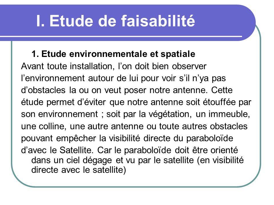 I. Etude de faisabilité 1. Etude environnementale et spatiale Avant toute installation, lon doit bien observer lenvironnement autour de lui pour voir
