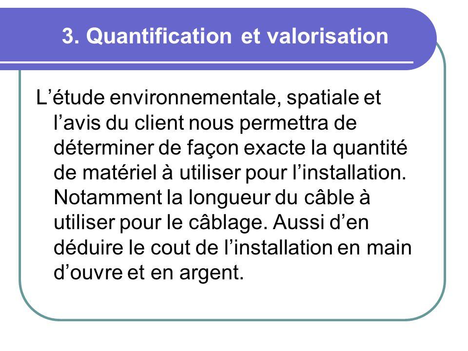 3. Quantification et valorisation Létude environnementale, spatiale et lavis du client nous permettra de déterminer de façon exacte la quantité de mat
