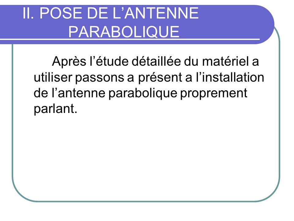 II. POSE DE LANTENNE PARABOLIQUE Après létude détaillée du matériel a utiliser passons a présent a linstallation de lantenne parabolique proprement pa