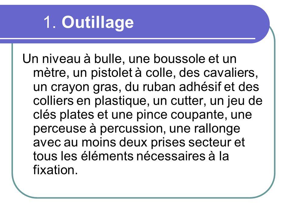1. Outillage Un niveau à bulle, une boussole et un mètre, un pistolet à colle, des cavaliers, un crayon gras, du ruban adhésif et des colliers en plas