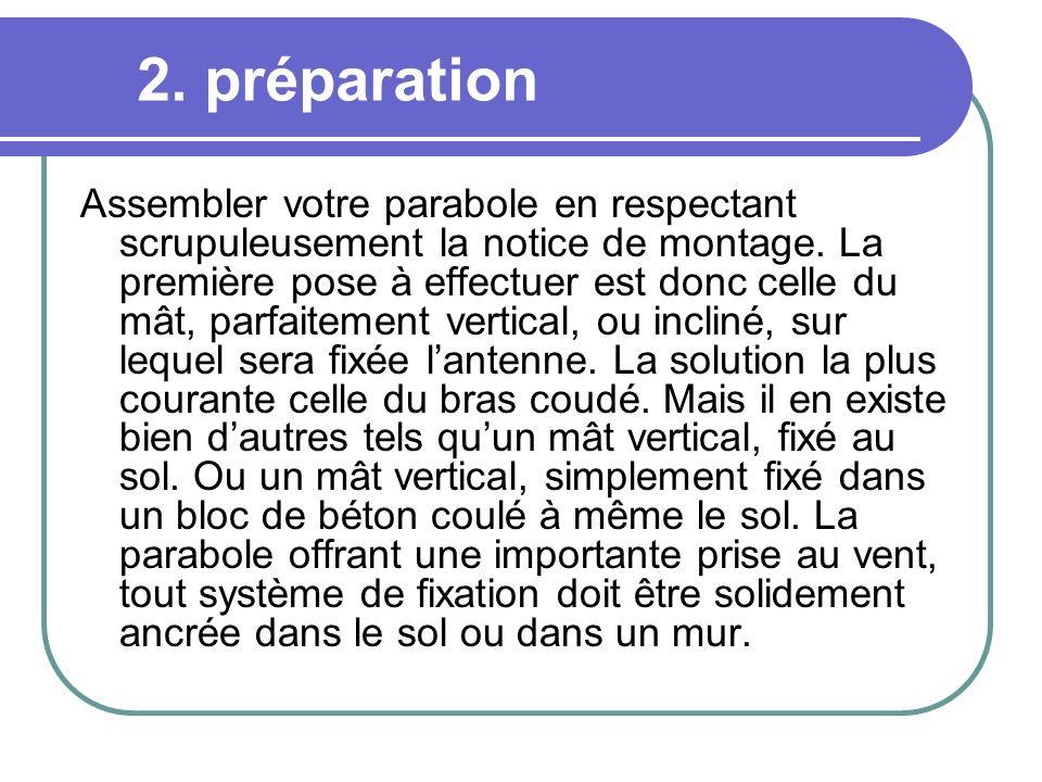2. préparation Assembler votre parabole en respectant scrupuleusement la notice de montage. La première pose à effectuer est donc celle du mât, parfai