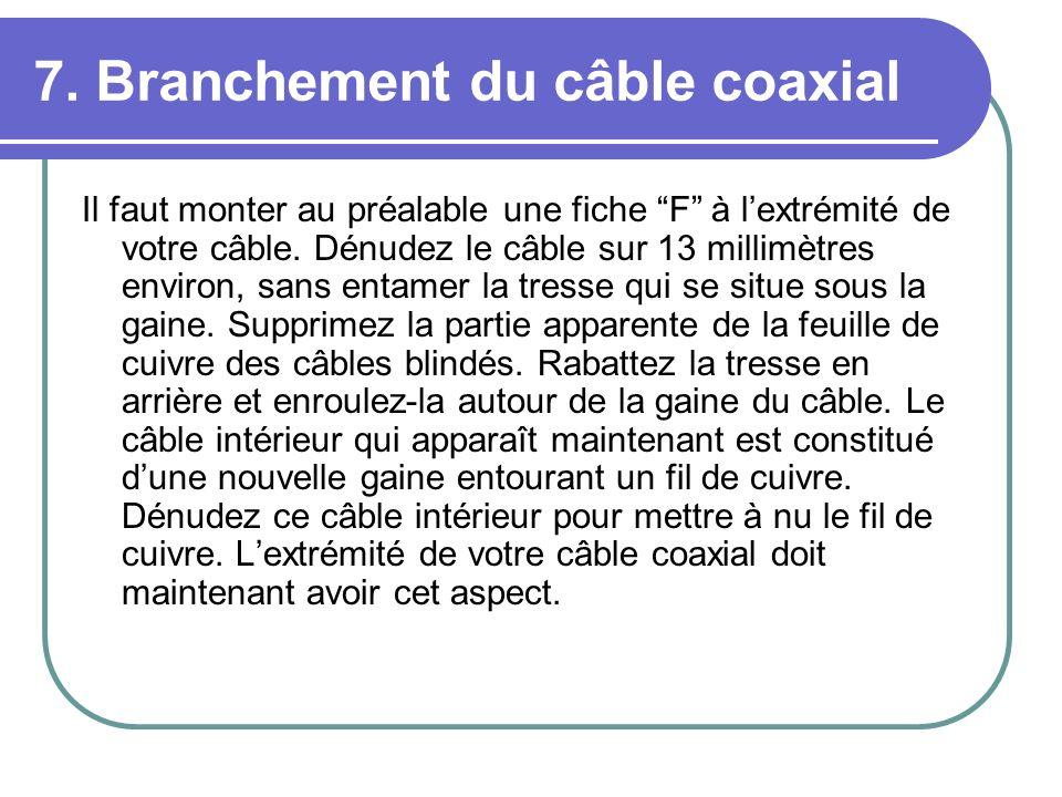 7. Branchement du câble coaxial Il faut monter au préalable une fiche F à lextrémité de votre câble. Dénudez le câble sur 13 millimètres environ, sans