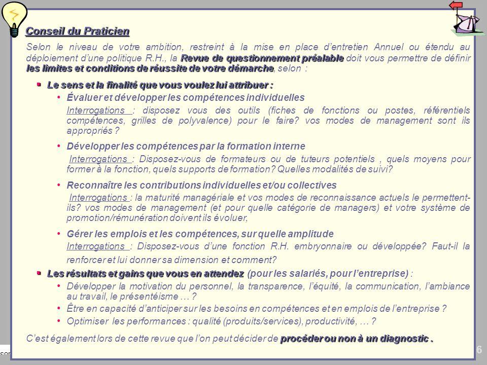 6 Conseil du Praticien Conseil du Praticien Revue de questionnement préalable les limites et conditions de réussite de votre démarche Selon le niveau