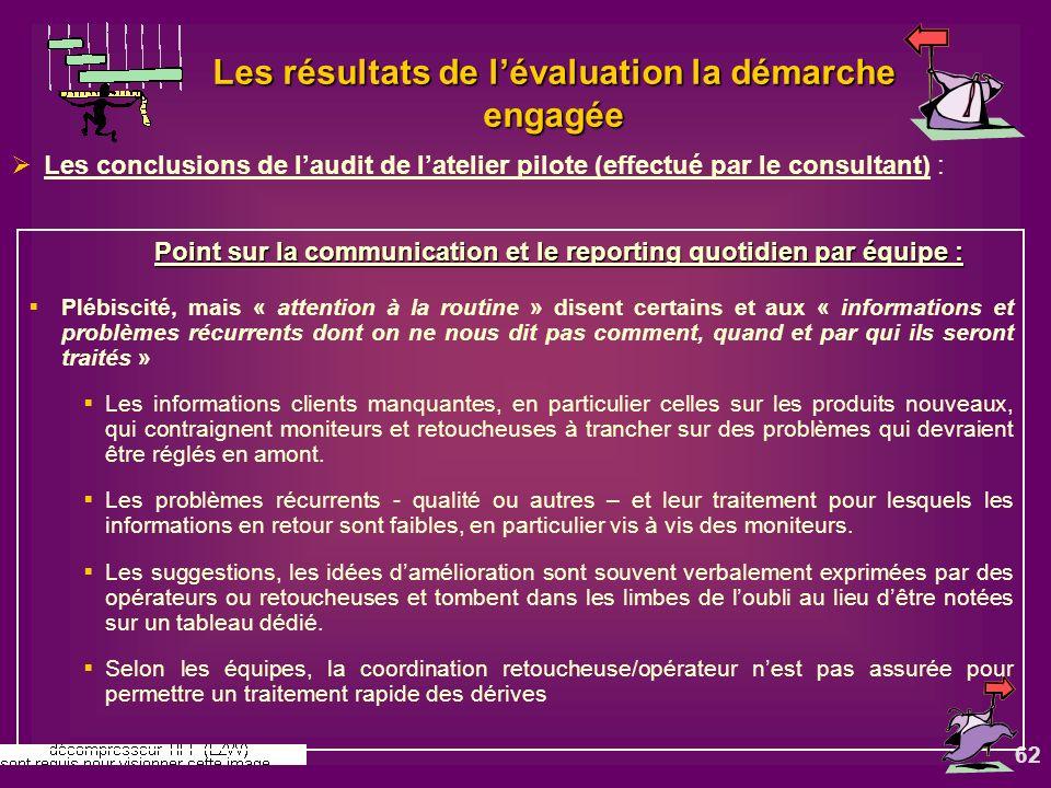 62 Les résultats de lévaluation la démarche engagée Les conclusions de laudit de latelier pilote (effectué par le consultant) : Point sur la communica