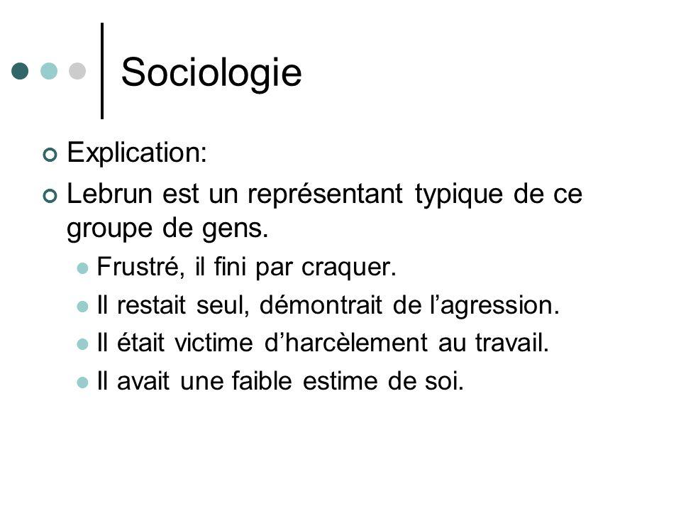 Sociologie Explication: Lebrun est un représentant typique de ce groupe de gens. Frustré, il fini par craquer. Il restait seul, démontrait de lagressi