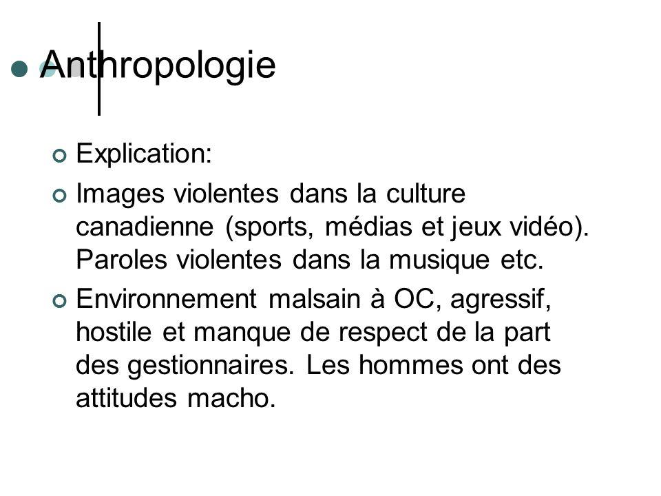 Anthropologie Explication: Images violentes dans la culture canadienne (sports, médias et jeux vidéo). Paroles violentes dans la musique etc. Environn