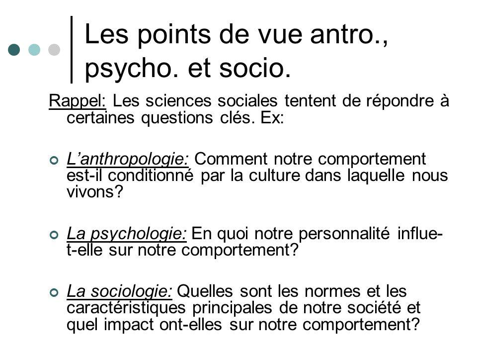 Les points de vue antro., psycho. et socio. Rappel: Les sciences sociales tentent de répondre à certaines questions clés. Ex: Lanthropologie: Comment