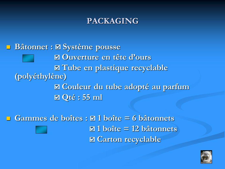 PACKAGING Bâtonnet : Système pousse Bâtonnet : Système pousse Ouverture en tête dours Ouverture en tête dours Tube en plastique recyclable (polyéthylè