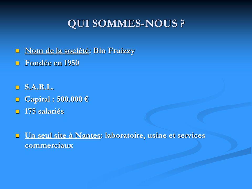 QUI SOMMES-NOUS ? Nom de la société: Bio Fruizzy Nom de la société: Bio Fruizzy Fondée en 1950 Fondée en 1950 S.A.R.L. S.A.R.L. Capital : 500.000 Capi
