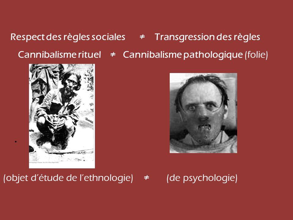 Respect des règles sociales Transgression des règles Cannibalisme rituel Cannibalisme pathologique (folie) (objet détude de lethnologie) (de psycholog