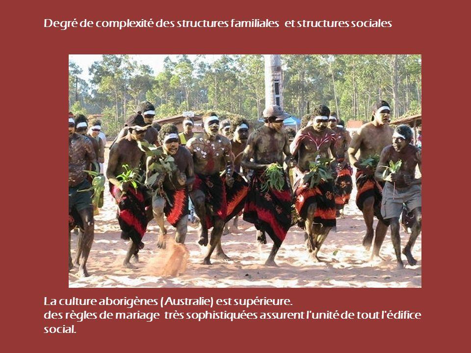 Degré de complexité des structures familiales et structures sociales La culture aborigènes (Australie) est supérieure. des règles de mariage très soph