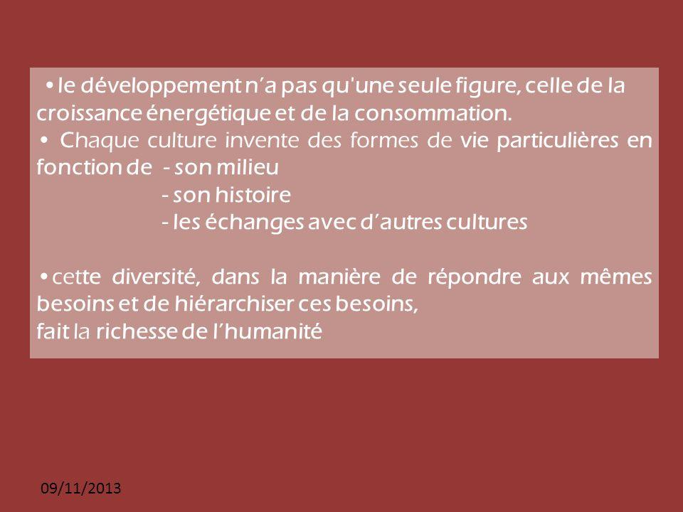 09/11/2013 le développement na pas qu'une seule figure, celle de la croissance énergétique et de la consommation. Chaque culture invente des formes de
