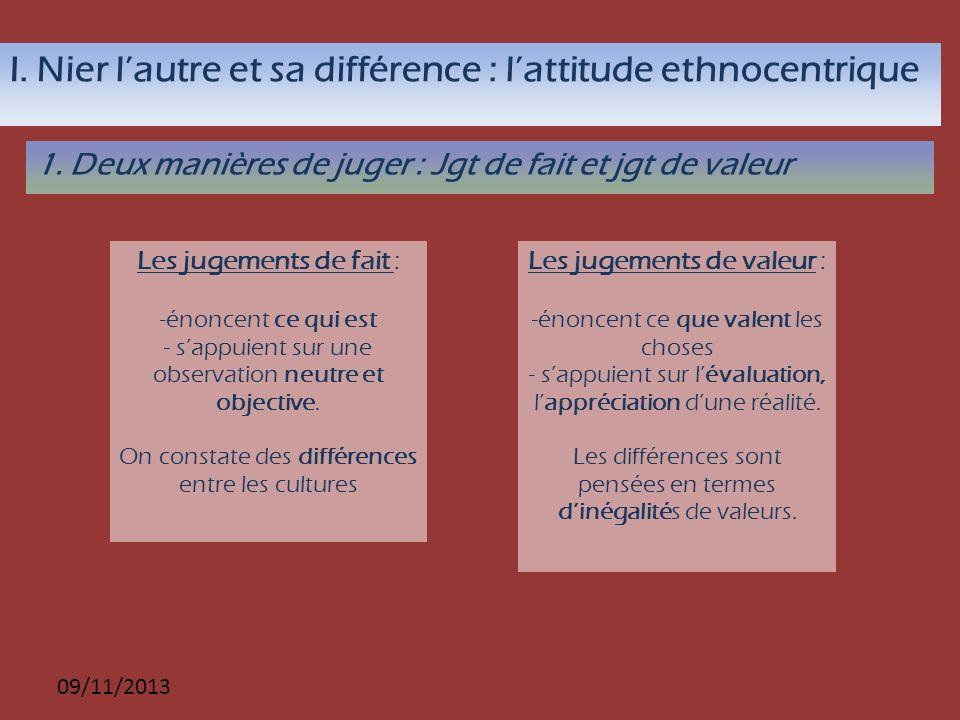 09/11/2013 I. Nier lautre et sa différence : lattitude ethnocentrique 1. Deux manières de juger : Jgt de fait et jgt de valeur Les jugements de fait :