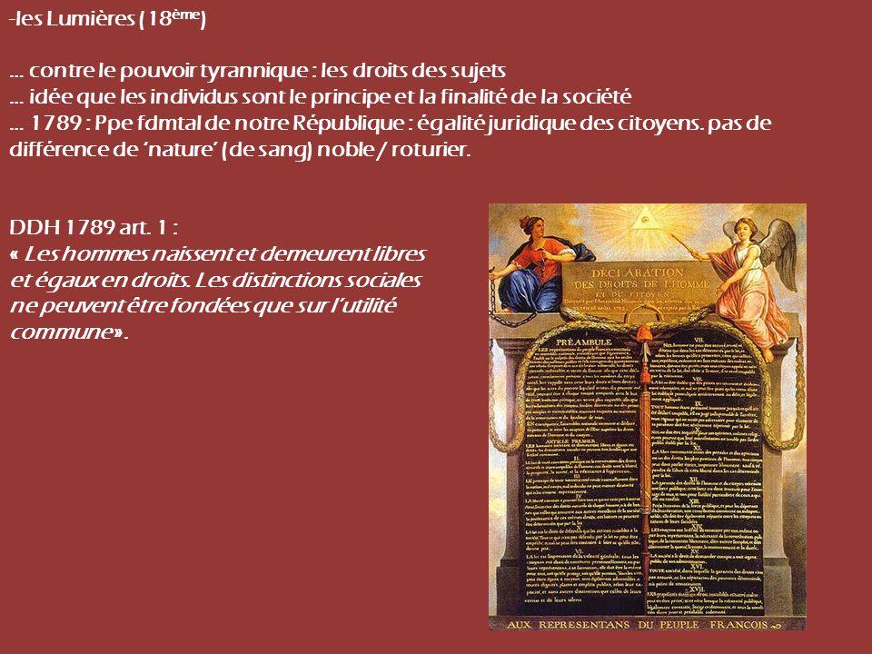 -les Lumières (18 ème ) … contre le pouvoir tyrannique : les droits des sujets … idée que les individus sont le principe et la finalité de la société