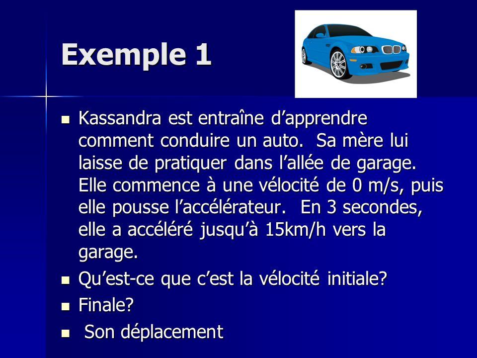 Exemple 1 Kassandra est entraîne dapprendre comment conduire un auto.