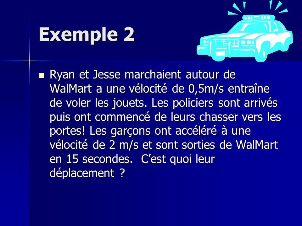 Exemple 2 Ryan et Jesse marchaient autour de WalMart a une vélocité de 0,5m/s entraîne de voler les jouets.