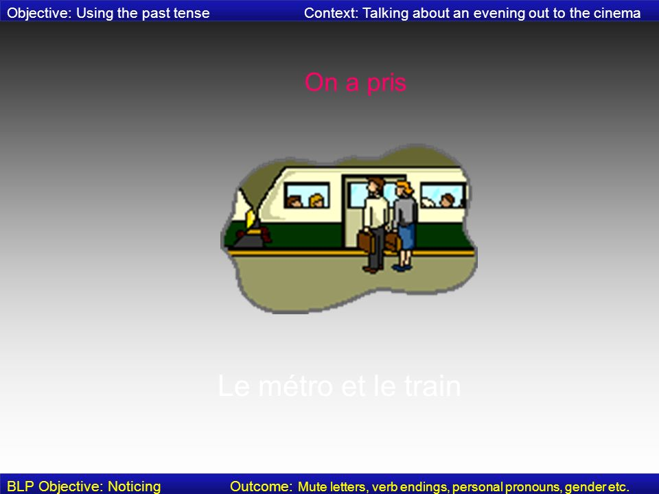 Puis, on a pris le bus Objective: Using the past tense Context: Talking about an evening out to the cinema BLP Objective: Noticing Outcome: Mute letters, verb endings, personal pronouns, gender etc.