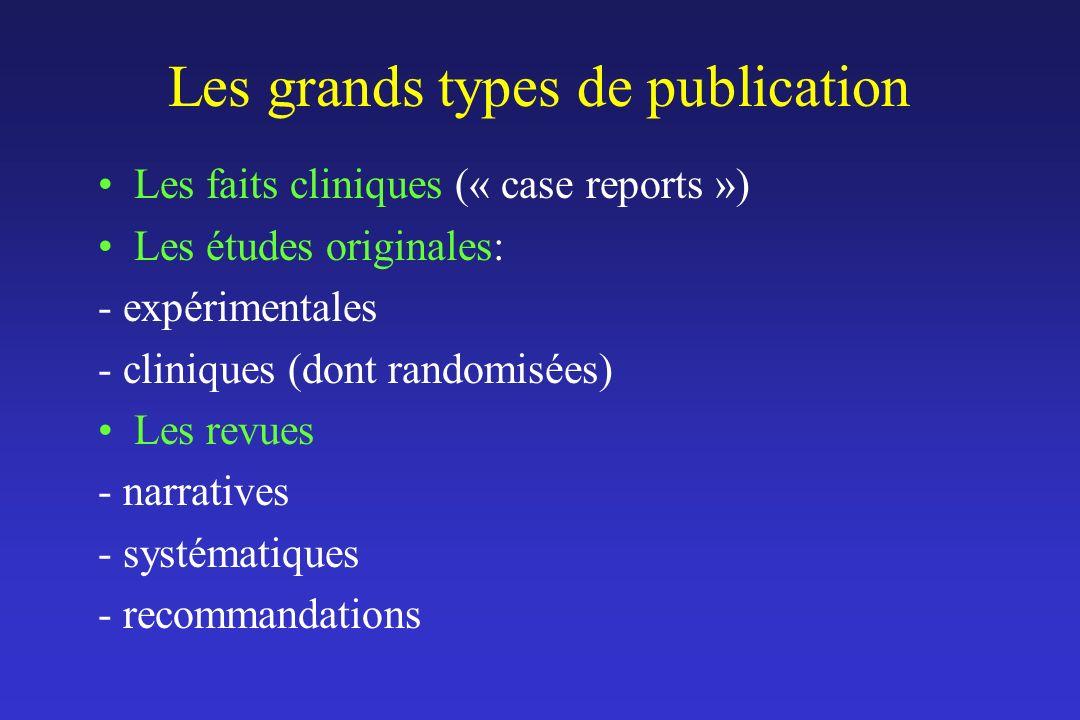 Les grands types de publication Les faits cliniques (« case reports ») Les études originales: - expérimentales - cliniques (dont randomisées) Les revu