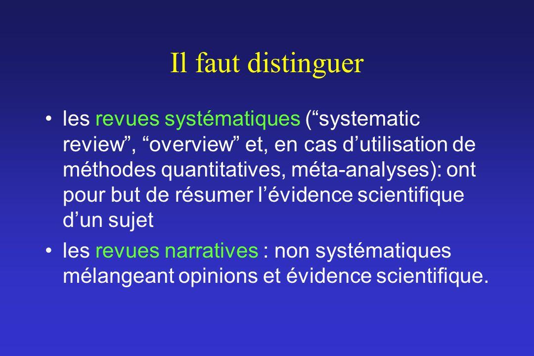 Il faut distinguer les revues systématiques (systematic review, overview et, en cas dutilisation de méthodes quantitatives, méta-analyses): ont pour b