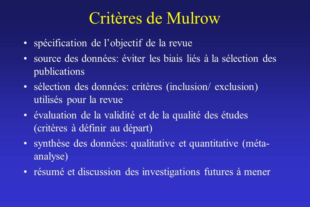 Critères de Mulrow spécification de lobjectif de la revue source des données: éviter les biais liés à la sélection des publications sélection des donn