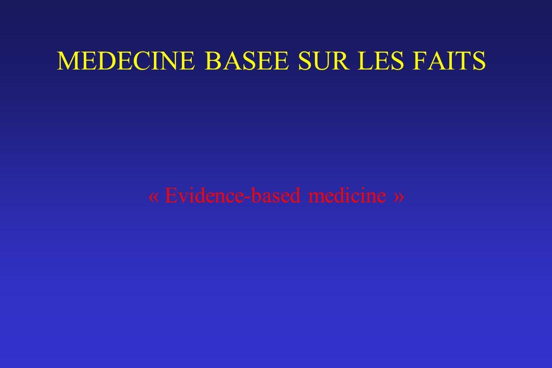 MEDECINE BASEE SUR LES FAITS « Evidence-based medicine »