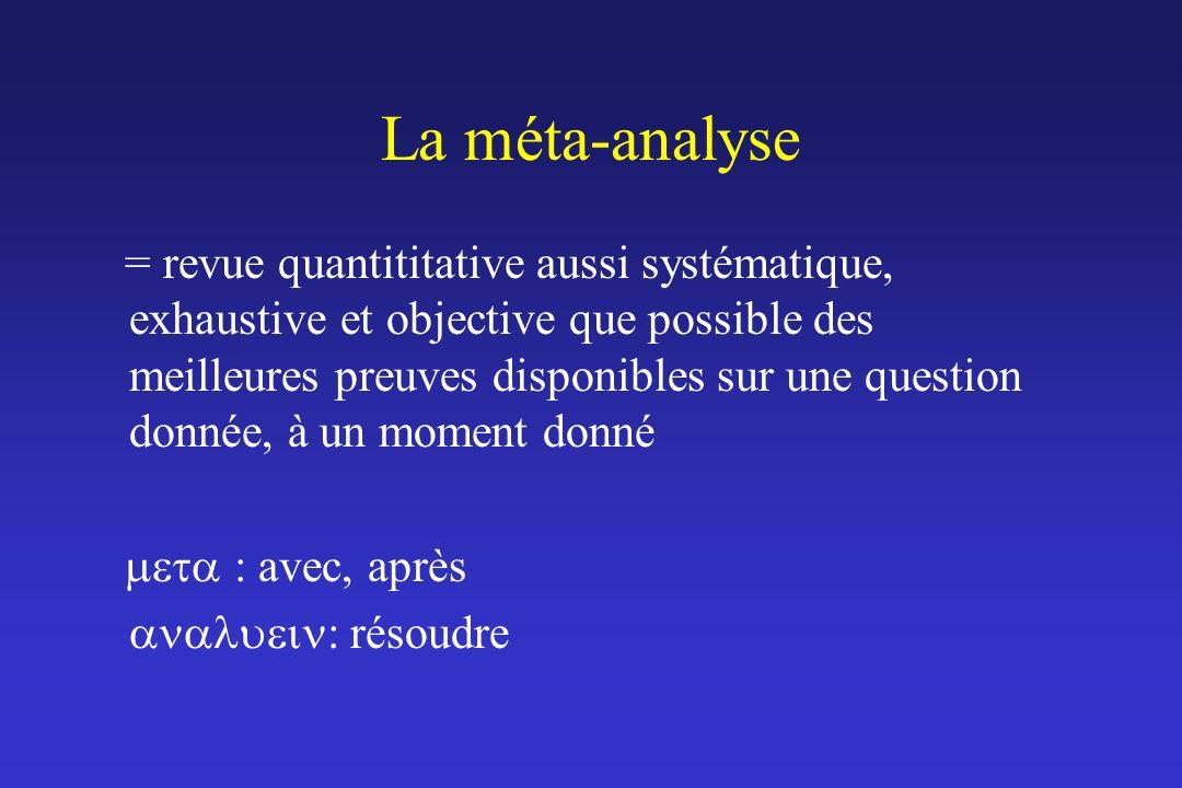 La méta-analyse = revue quantititative aussi systématique, exhaustive et objective que possible des meilleures preuves disponibles sur une question do