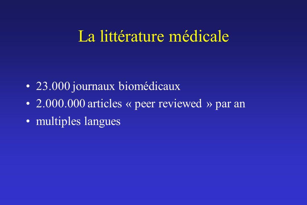 La littérature médicale 23.000 journaux biomédicaux 2.000.000 articles « peer reviewed » par an multiples langues