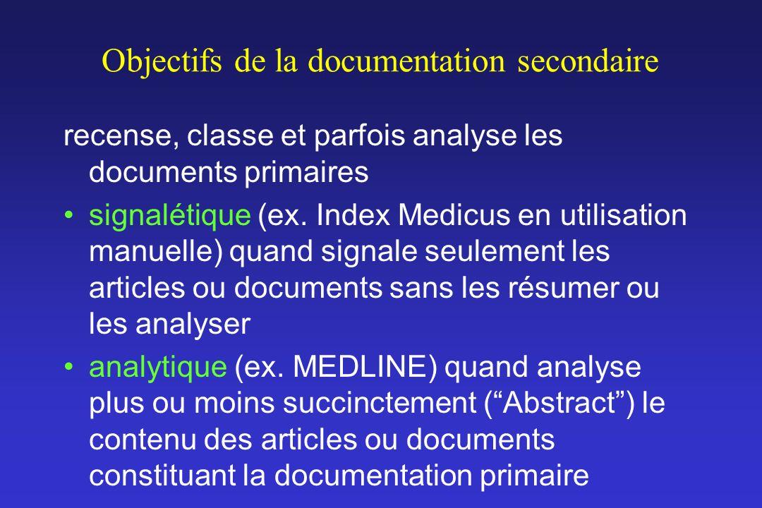 Objectifs de la documentation secondaire recense, classe et parfois analyse les documents primaires signalétique (ex. Index Medicus en utilisation man