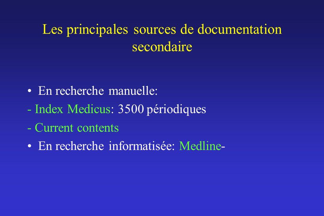 Les principales sources de documentation secondaire En recherche manuelle: - Index Medicus: 3500 périodiques - Current contents En recherche informati