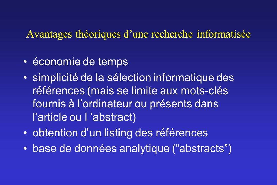 Avantages théoriques dune recherche informatisée économie de temps simplicité de la sélection informatique des références (mais se limite aux mots-clé