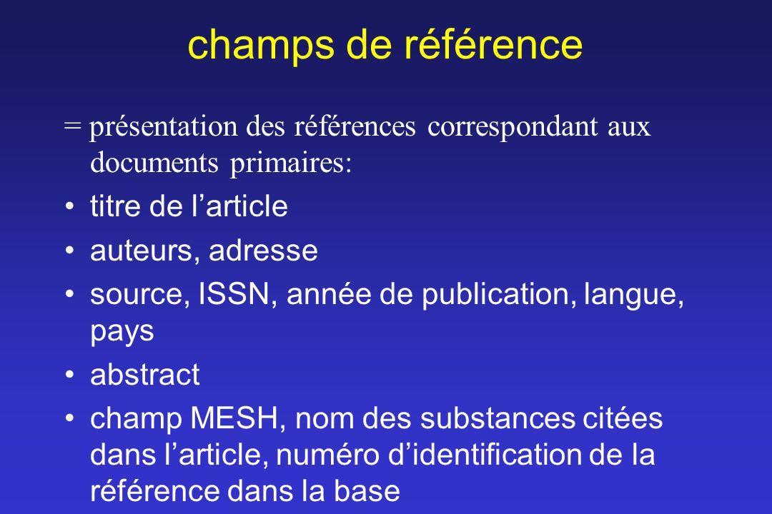 champs de référence = présentation des références correspondant aux documents primaires: titre de larticle auteurs, adresse source, ISSN, année de pub