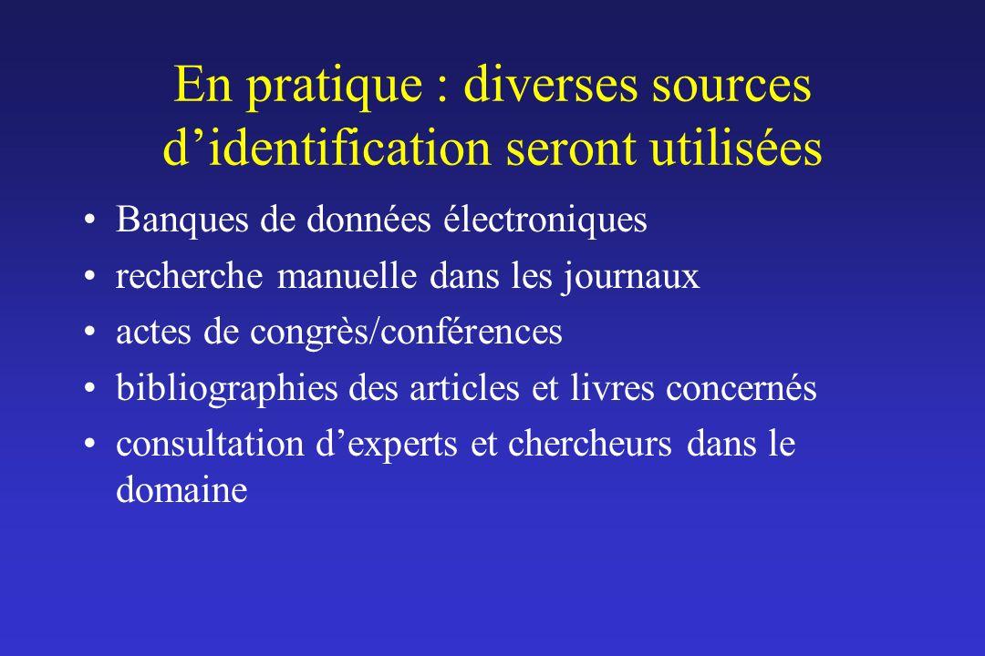 En pratique : diverses sources didentification seront utilisées Banques de données électroniques recherche manuelle dans les journaux actes de congrès
