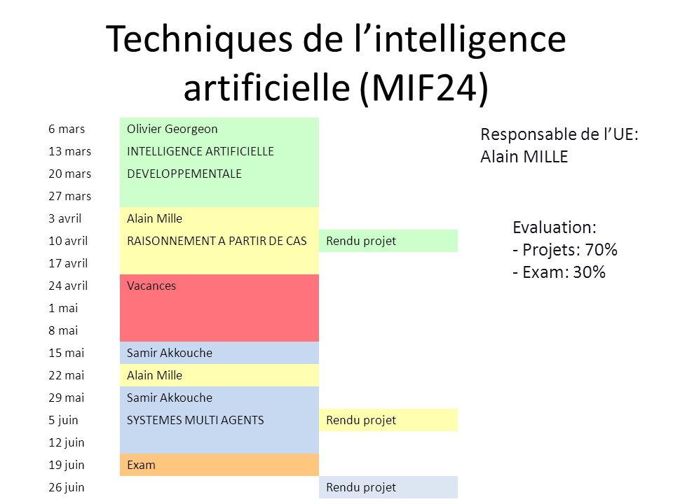 Techniques de lintelligence artificielle (MIF24) 6 marsOlivier Georgeon 13 marsINTELLIGENCE ARTIFICIELLE 20 marsDEVELOPPEMENTALE 27 mars 3 avrilAlain