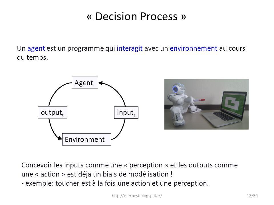 « Decision Process » Environment output t Input t Agent http://e-ernest.blogspot.fr/13/50 Un agent est un programme qui interagit avec un environnemen