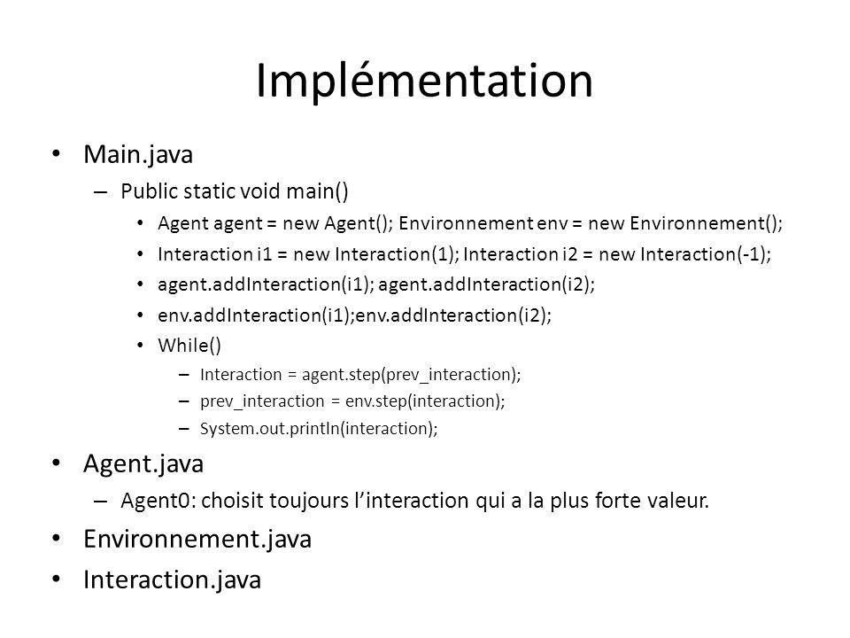 Implémentation Main.java – Public static void main() Agent agent = new Agent(); Environnement env = new Environnement(); Interaction i1 = new Interact
