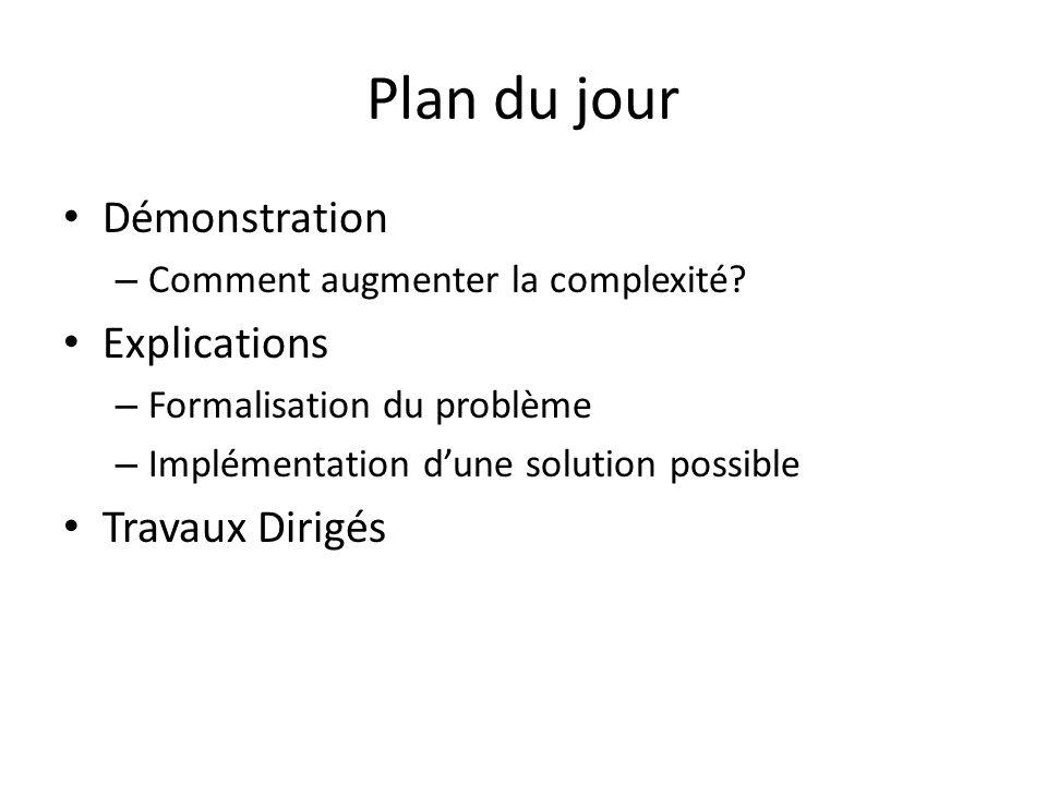 Plan du jour Démonstration – Comment augmenter la complexité? Explications – Formalisation du problème – Implémentation dune solution possible Travaux