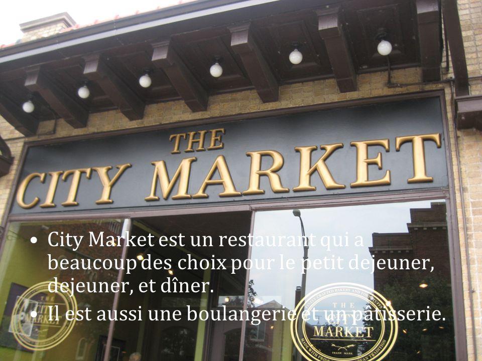 City Market est un restaurant qui a beaucoup des choix pour le petit dejeuner, dejeuner, et dîner. Il est aussi une boulangerie et un pâtisserie.